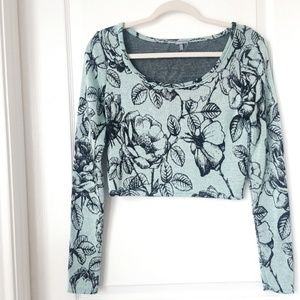 Charlotte Russe Floral Crop Top Sweater M